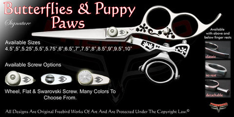 Butterflies & Puppy Paws 3 Hole Double Swivel Thumb Signature Hair Shears
