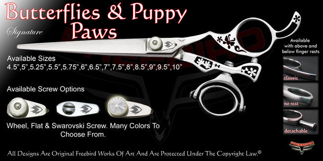 Butterflies & Puppy Paws Double Swivel Thumb Signature Grooming Shears