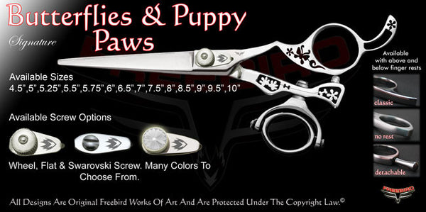 Butterflies & Puppy Paws Double Swivel Thumb Signature Hair Shears