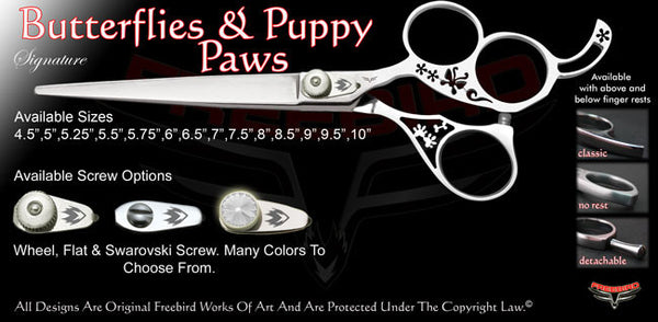 Butterflies & Puppy Paws 3 Hole Signature Grooming Shears
