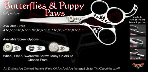 Butterflies & Puppy Paws 3 Hole Signature Hair Shears