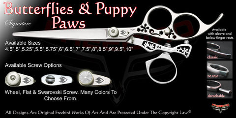 Butterflies & Puppy Paws 3 Hole Swivel Thumb Signature Grooming Shears