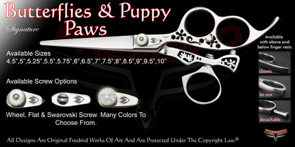 Butterflies & Puppy Paws 3 Hole Swivel Thumb Signature Hair Shears