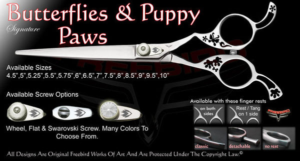 Butterflies & Puppy Paws Straight Signature Grooming Shears