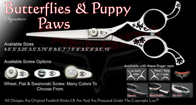 Butterflies & Puppy Paws Straight Signature Hair Shears