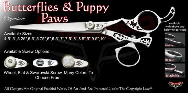 Butterflies & Puppy Paws Swivel Thumb Signature Grooming Shears