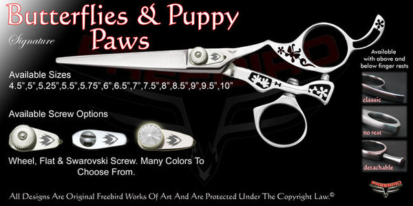 Butterflies & Puppy Paws Swivel Thumb Signature Hair Shears