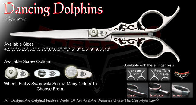 Dancing Dolphins Straight Signature Grooming Shears