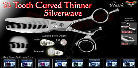 Double Swivel 33 Tooth Curved Thinning Shears