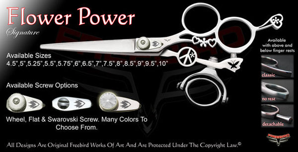 Flower Power 3 Hole Double Swivel Thumb Signature Hair Shears