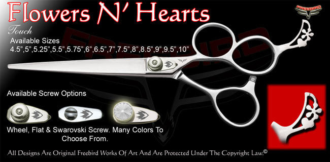 Flowers N' Hearts 3 Hole Touch Grooming Shears