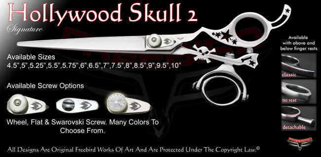 Hollywood Skull 2 Double Swivel Thumb Signature Grooming Shears