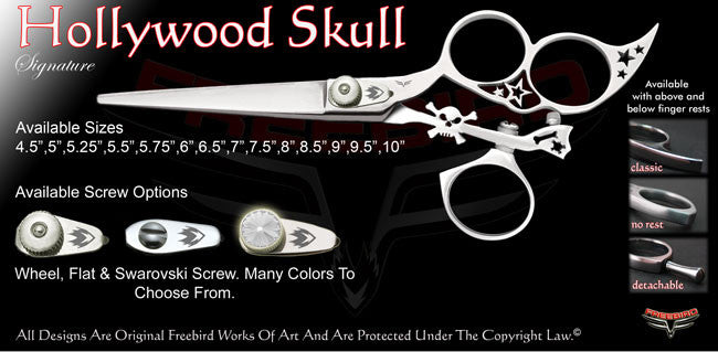 Hollywood Skull 3 Hole Swivel Thumb Signature Hair Shears