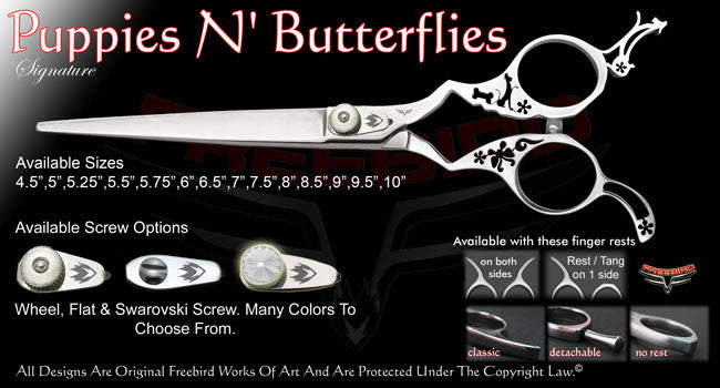 Puppies N Butterflies Straight Signature Grooming Shears