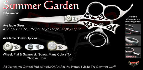 Summer Garden 3 Hole Double Swivel Thumb Signature Hair Shears
