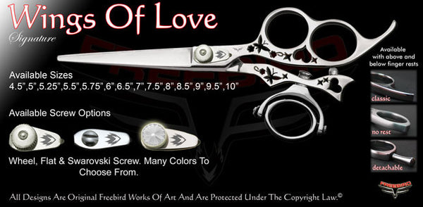 Wings Of Love 3 Hole Double Swivel Thumb Signature Hair Shears