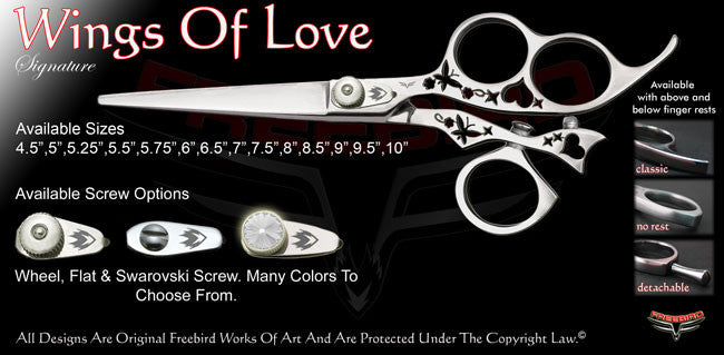 Wings Of Love 3 Hole Swivel Thumb Signature Hair Shears