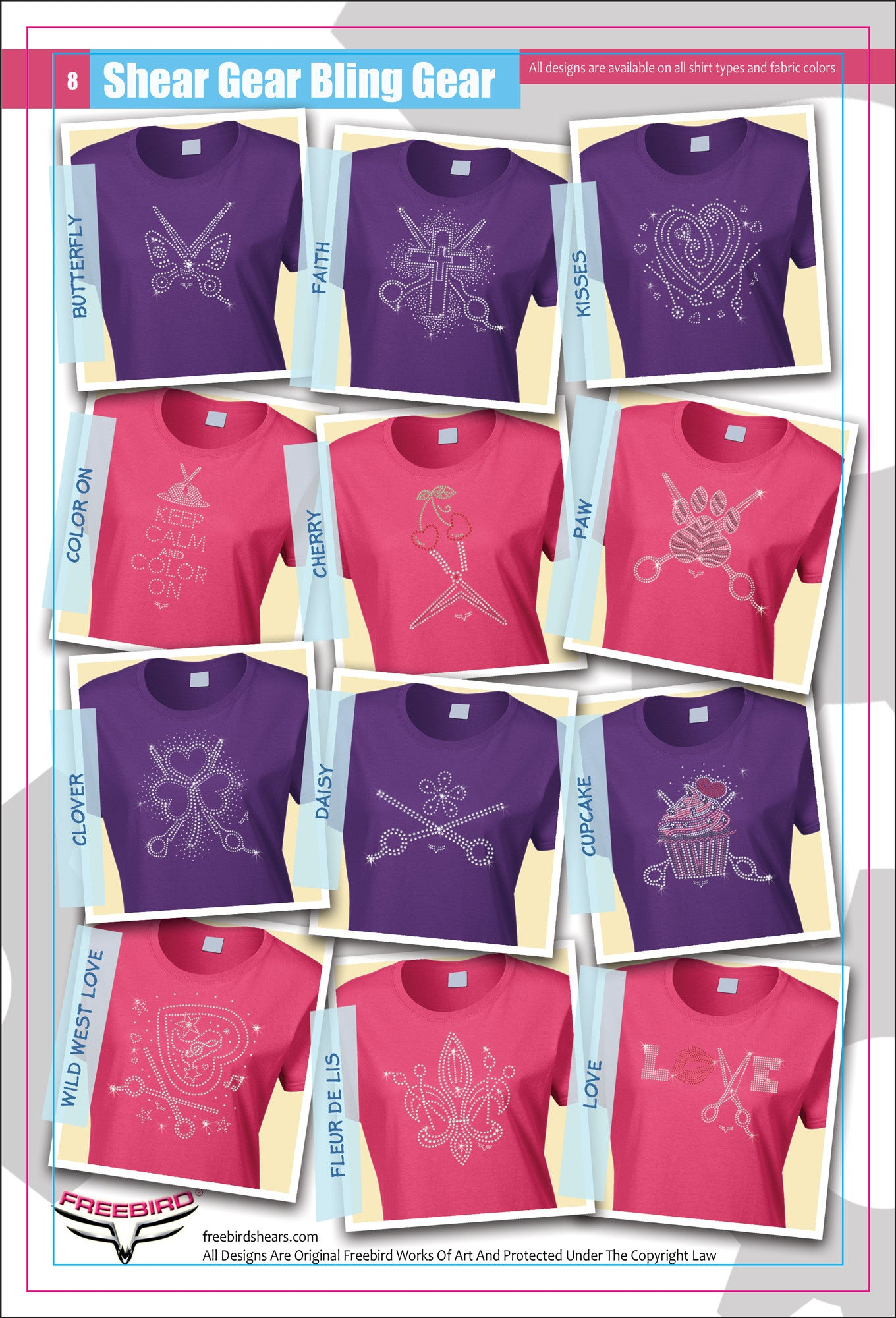 Designer Rhinestone Shirts Page 1 Pink/Purple Examples