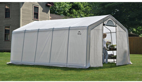 ShelterLogic 70684 12X20X8Ft/ 3,7X6,1X2,4M Greenhouse-In-A-Box Pro (6) Rib Peak Style All Steel Frame; (1) Translucent Pe Cover; (2) Double Zippered Doors With Screened Vents - ShelterMall