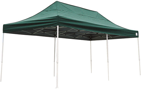 ShelterLogic 22582 10 ft. x 20 ft. Pro Pop-up Canopy Straight Leg Green Cover - ShelterMall