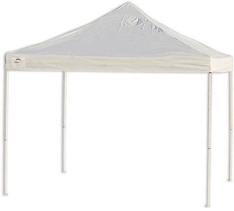 ShelterLogic 22596  10 ft. x 10 ft. Pro Truss Top Pop-up Canopy  Straight Leg White Cover - ShelterMall - 1
