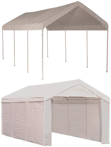 ShelterLogic 23529 Max AP 10 ft. x 20 ft. 2-in-1 Canopy with  White Cover Enclosure Kit - ShelterMall