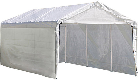 ShelterLogic 23532 Max AP Canopy 3-in-1 10 ft. x 20 ft. 1-3/8 in. 4-Rib Frame White Cover Enclosure and Extension Kits - ShelterMall