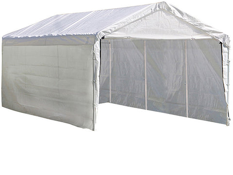 ShelterLogic 23572 Super Max 2-in-1 10 ft. x 20 ft. 4-Rib Canopy with Enclosure Kit - ShelterMall