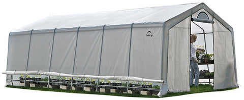 ShelterLogic 70591 GrowIt Heavy Duty Walk-Thru Greenhouse Peak-Style 12 ft. x 24 ft. x 8 ft. - ShelterMall
