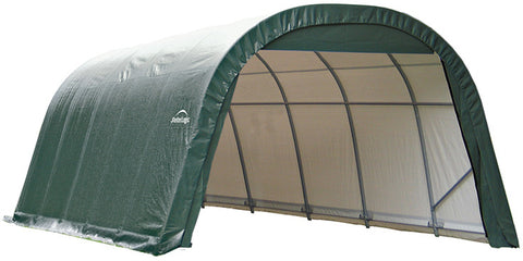 ShelterLogic 76642 12x28x8 ft.  Round Style Shelter- Green - ShelterMall