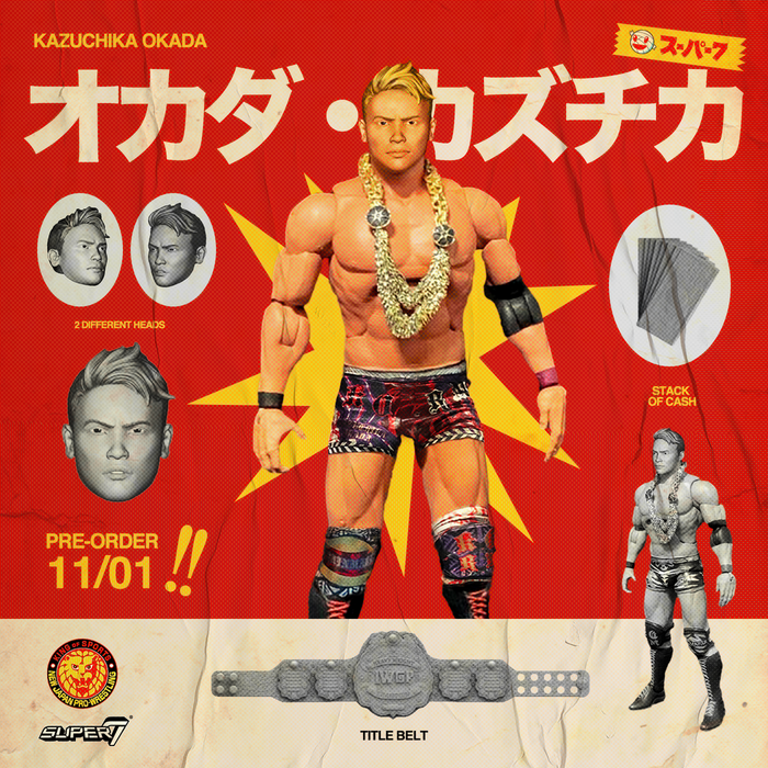 "Super7 Japan Pro-Wrestling Ultimates Wave 1 - 7"" Articulated Action Figure - Kazuchika Okada - JULY 2020"