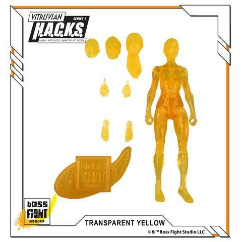 Vitruvian H.A.C.K.S. Action Figure Blank - Female Body - Transparent Yellow