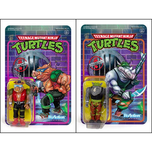 "TMNT Reaction 3.75"" Rocksteady and Bebop Action Figure Set of 2"