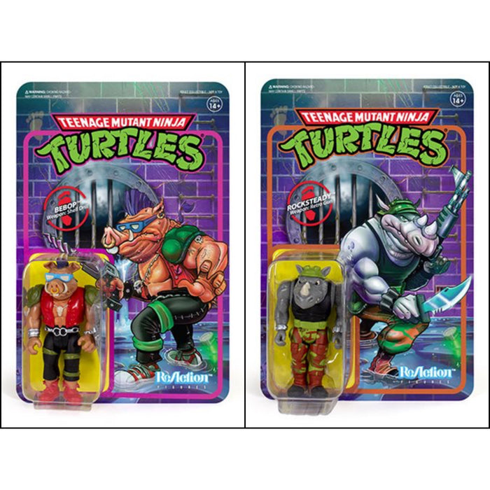 "TMNT Reaction 3.75"" Rocksteady and Bebop Action Figure Set of 2 - JANUARY 2020"