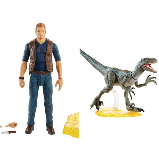 "Jurassic World Amber Collection 6"" Scale Action Figure Set of 2 Owen and Blue"