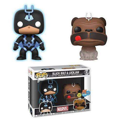 Marvel Inhumans Teleporting Lockjaw & Glow-in-the-Dark Black Bolt Pop! Vinyl Figure 2-Pack SDCC 2018 Previews Exclusive
