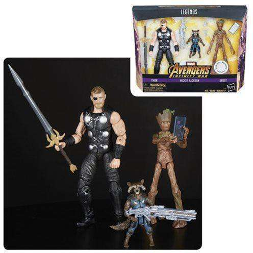 Avengers Infinity War Marvel Legends Thor, Rocket Raccoon, and Groot 6-Inch Action Figures - Toys R Us Exclusive - JULY 2018
