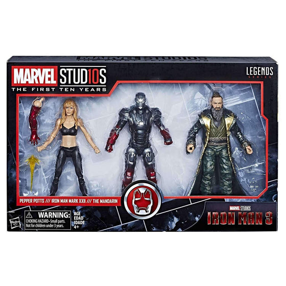Marvel Studios: The First Ten Years Marvel Legends - Iron Man 3: Pepper Potts, Iron Man, and Mandarin - APRIL 2019