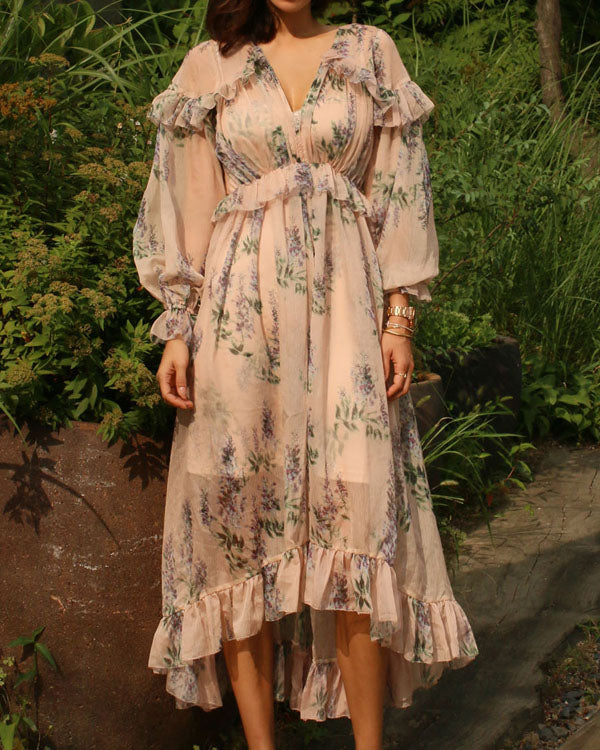 FLORAL CHIFFON GEORGETTE DRESS