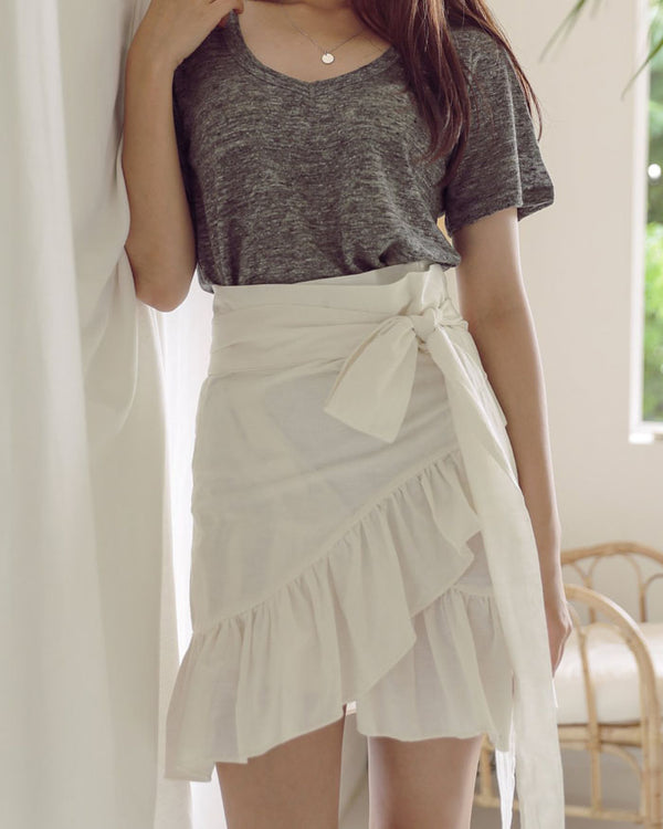 RUFFLED LINEN SKIRT