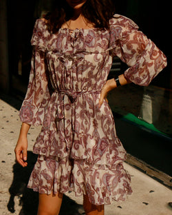 OPEN SHOULDER CHIFFON DRESS