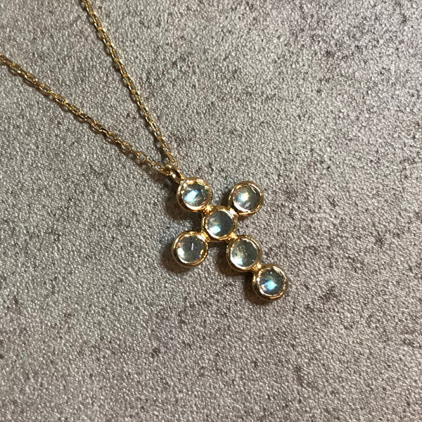 [LUMINOUX] LABRADORITE CROSS NECKLACE