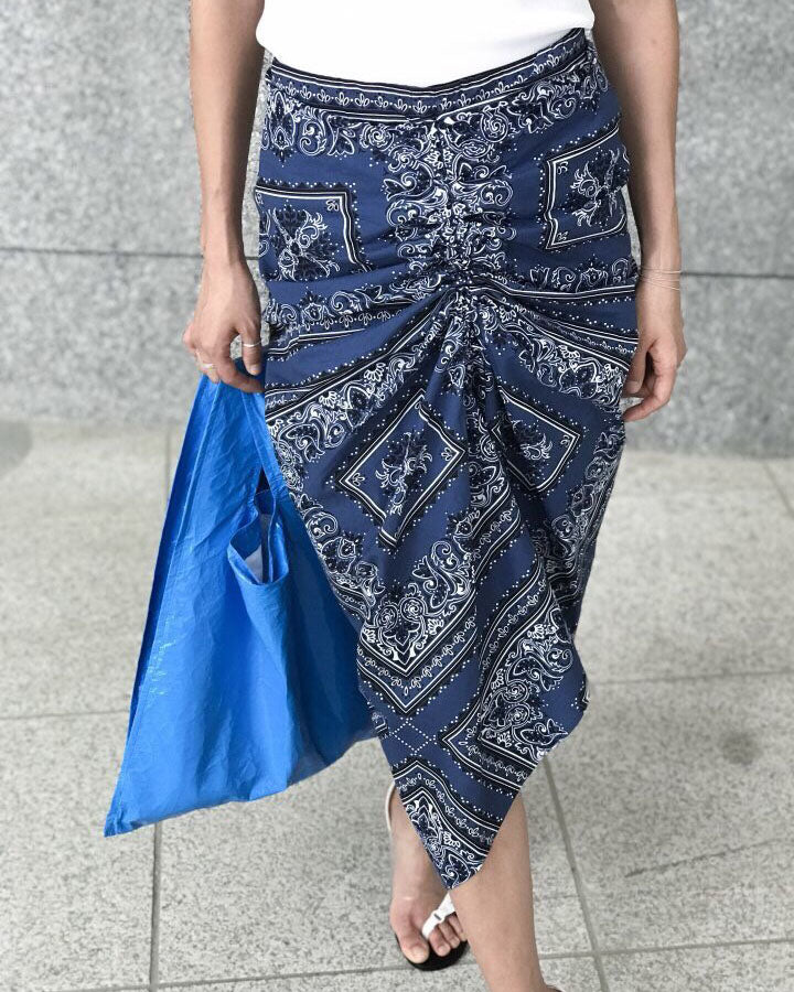 PAISLEY RUCHED SKIRT