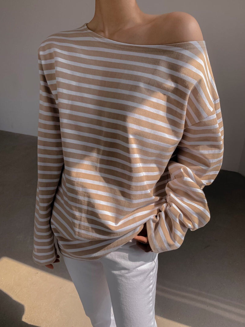 OVERSIZED VIVID STRIPE COTTON T-SHIRT
