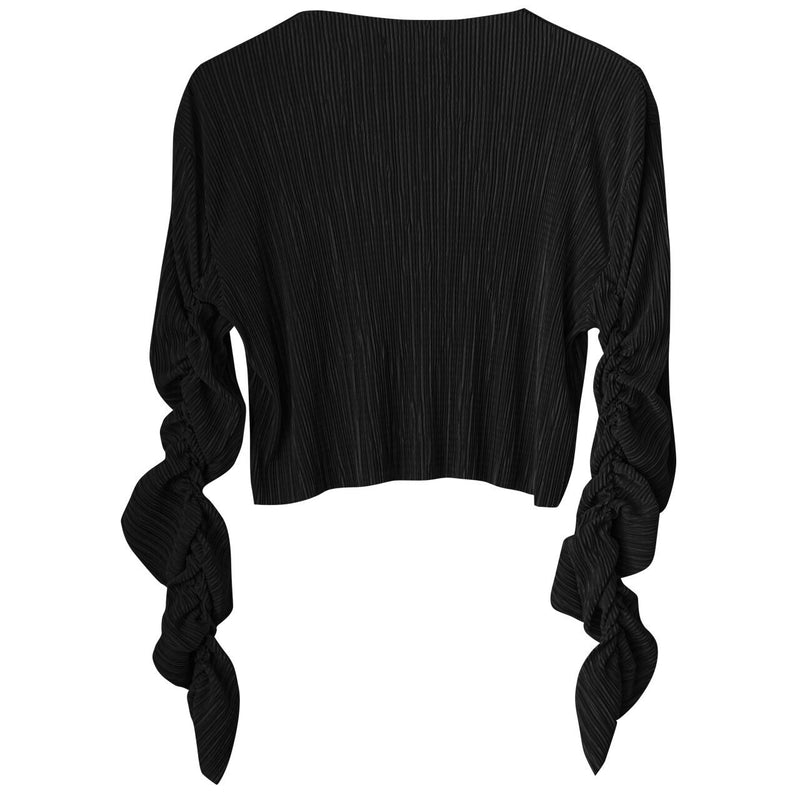 PLEATED RUCHED SLEEVE BLOUSE
