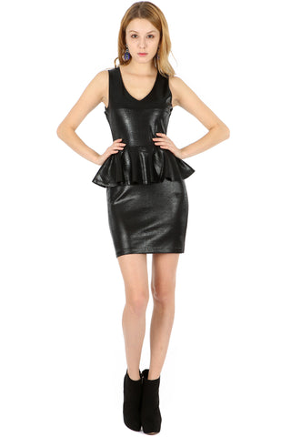 LEATHERETTE PEPLUM DRESS