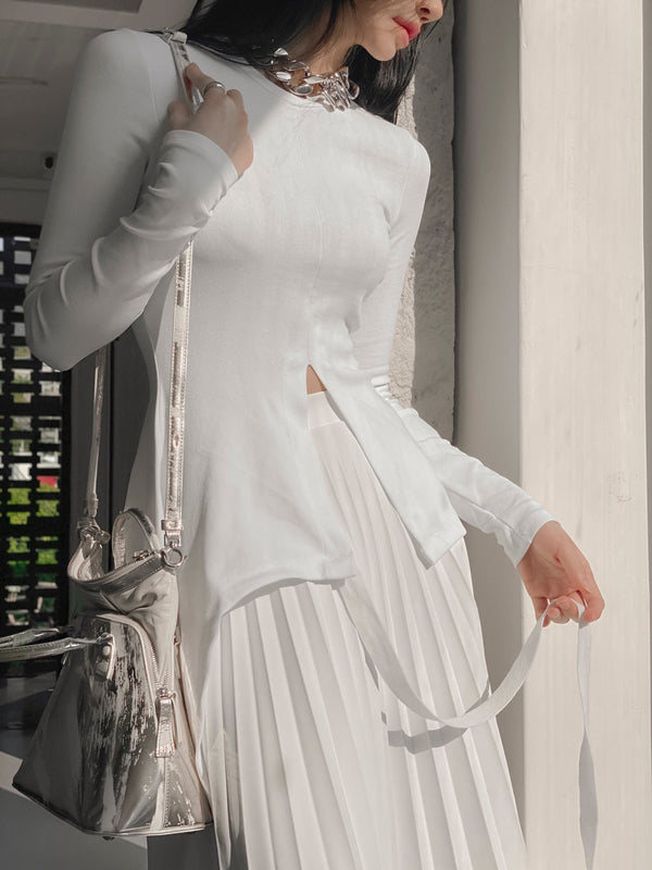 UNBALANCED DRAPED LONG SLEEVE DRESS