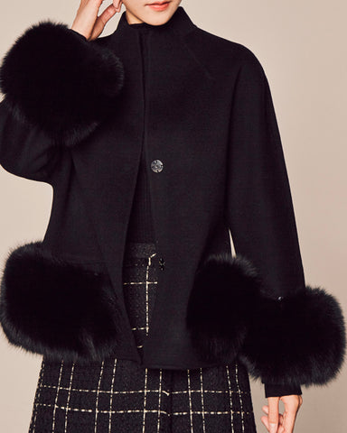 FOX FUR TRIM WOOL JACKET