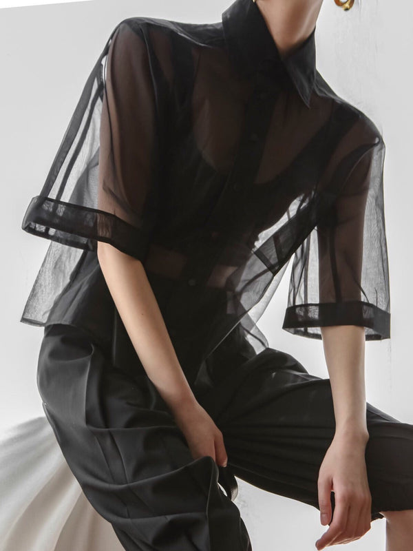 SHEER MESH HALF SLEEVE SHIRT