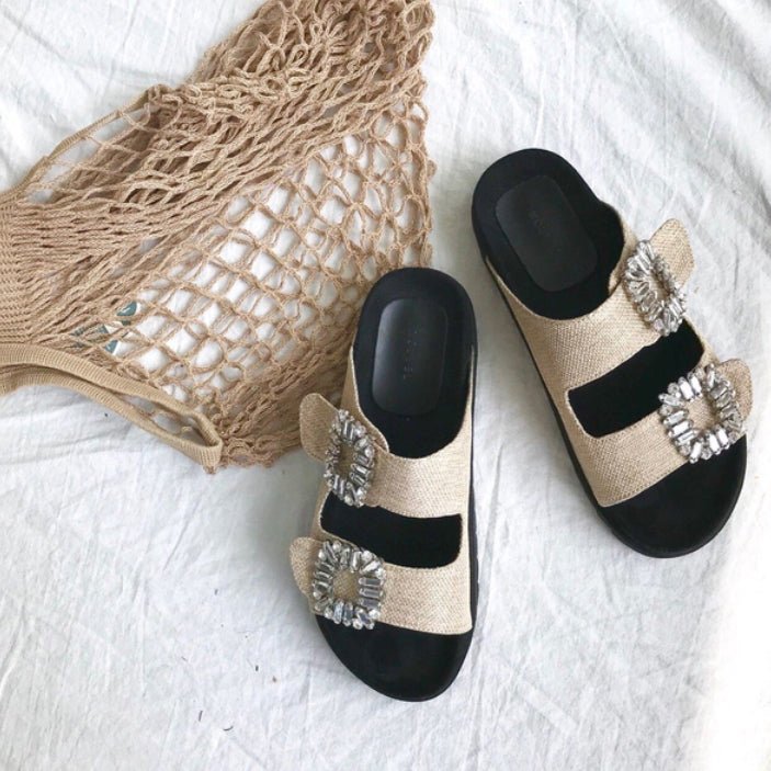 CRYSTAL BIRKS SANDALS - 2 COLORS